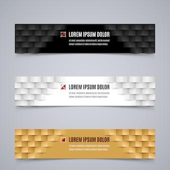 Set di semplici banner modello con motivo geometrico moderno nei colori bianco, nero e arancione