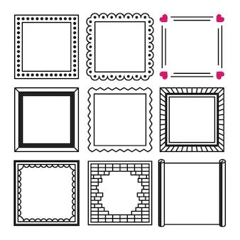 Insieme dell'illustrazione semplice del telaio e del confine dei quadrati neri nello stile di schizzo di scarabocchio.