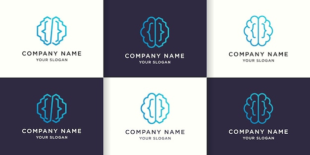 Set di design del logo della linea mono con codice cerebrale semplice
