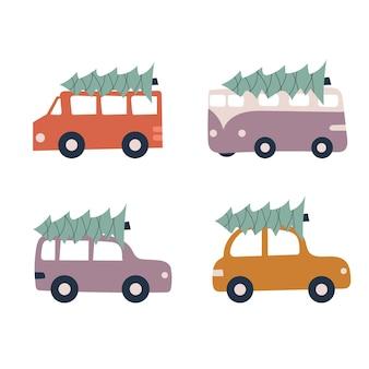 Una serie di semplici auto dei cartoni animati con un albero di natale sul tetto