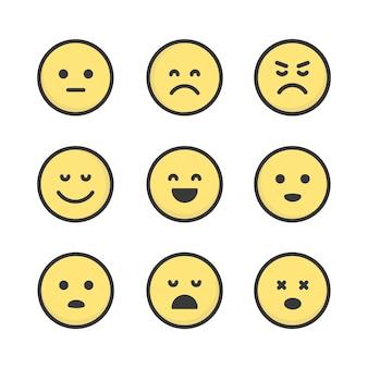 Set di icone semplici emoji piatte. disegno vettoriale di raccolta di emoticon. simpatici adesivi di emozione.