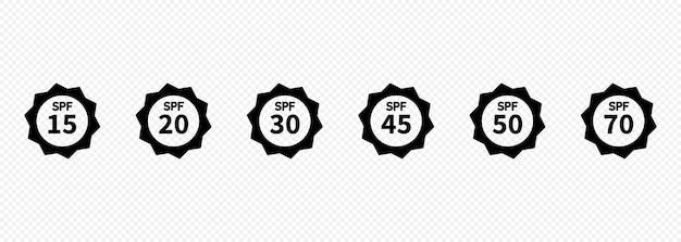 Set di semplici icone di protezione solare spf piatte per l'imballaggio della protezione solare. protezione uv per la pelle. icone per prodotti per la protezione solare o altri cosmetici per la pelle. vettore su sfondo trasparente isolato. eps 10