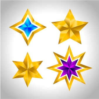 Set di semplici stelle colorate d'oro