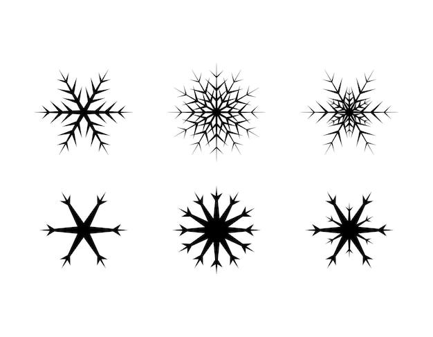 Set di semplici fiocchi di neve di linee nere decorazioni festive per capodanno e natale