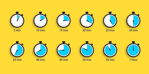 Set di semplici timer. set di icone vettoriali per il conto alla rovescia. icone del cronometro impostate in stile piatto, timer digitale. orologio e orologio, simbolo del conto alla rovescia. timer freccia a rotazione completa. orologio sportivo