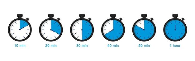 Set di semplici timer cronometro icone del cronometro impostate in stile piatto