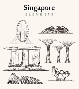 Insieme di edifici di singapore isolati su bianco