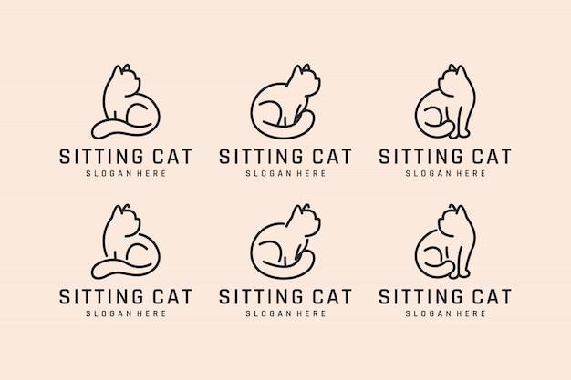 Impostare il gatto seduto con l'ispirazione al design del logo del concetto di linea