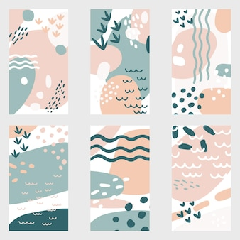 Un set di sei sfondi astratti in uno stile alla moda per storie di social media con spazio per il testo.