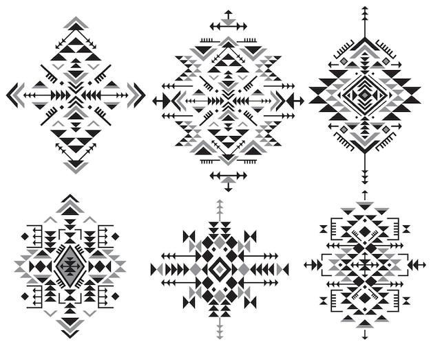 Set di sei elementi di motivi etnici in bianco e nero con forme geometriche