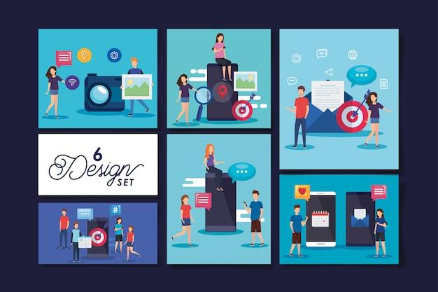 Set di sei disegni icone social media con le persone