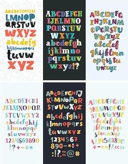 Set di sei diversi alfabeti inglesi