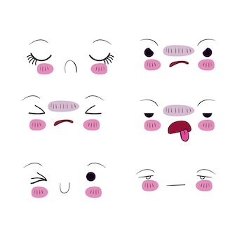 Set per sei diverse espressioni facciali kawaii