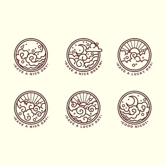 Set di sei diverse illustrazioni di contorno relative al cielo