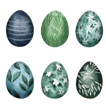 Set di sei uova di pasqua con motivi floreali
