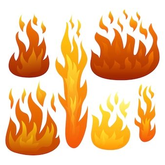 Set di sei fiamme di fuoco isolate su sfondo bianco. illustrazione vettoriale