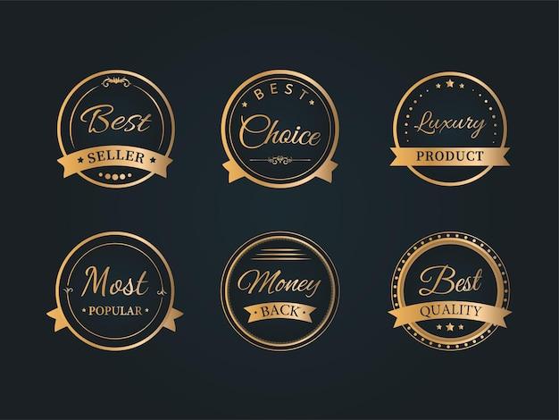 Set di sei etichette dorate, etichette o adesivi, design distintivo su sfondo nero per la pubblicità.
