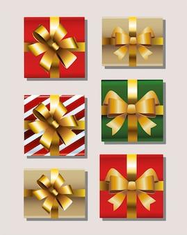 Un insieme di sei regali di buon natale con l'illustrazione dorata delle icone degli archi