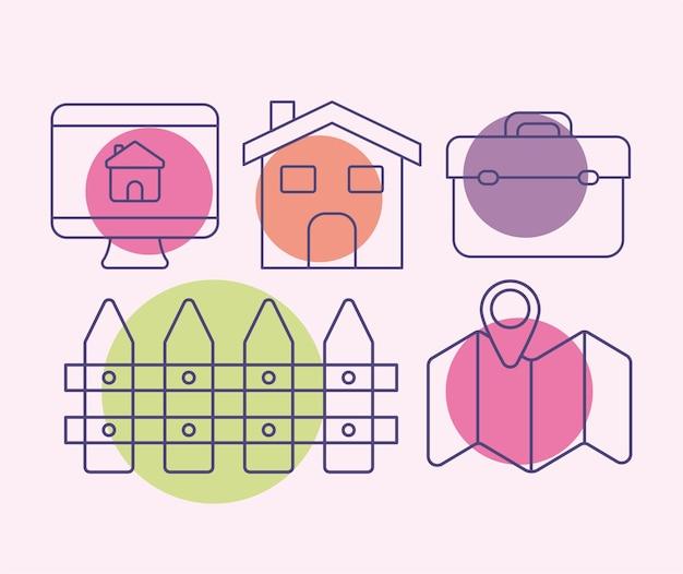 Set di sei icone immobiliari