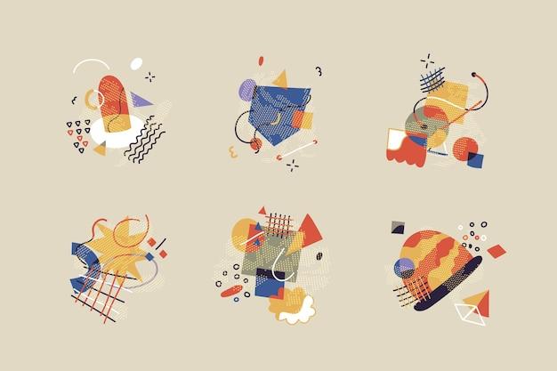 Set di sei disegnati a mano colorati alla moda