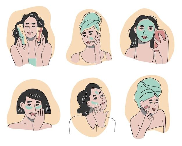 Set di sei donne che applicano vari prodotti per la cura della pelle sui loro volti