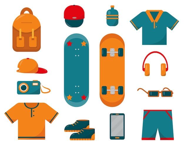 Set di vestiti da skateboard e cose necessarie per lo sketeboard