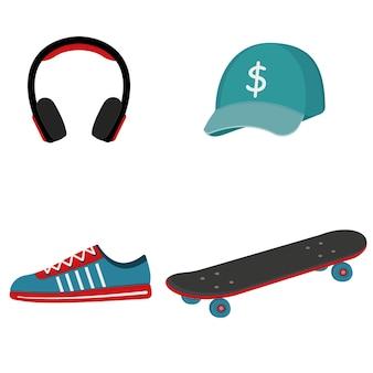Set di berretto da skateboarder, skateboard, cuffie, scarpe da ginnastica, illustrazione isolata su sfondo bianco