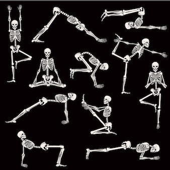 Set di pose dello scheletro yoga