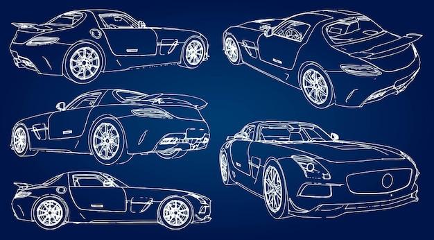 Impostare lo schizzo di un'auto sportiva moderna su uno sfondo blu con una sfumatura.
