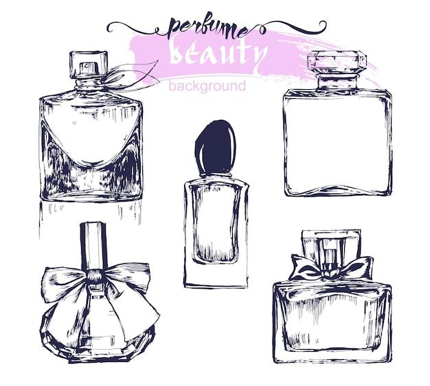Una serie di schizzi di bellissime bottiglie di profumo. illustrazione vettoriale