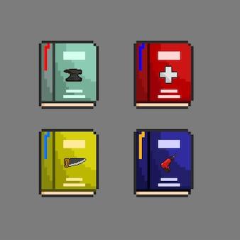 Set di libri di abilità con stile pixel art