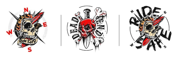 Impostare skull tshirt graphic design con il testo del vicolo cieco
