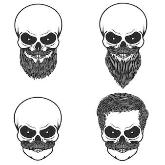 Set di teschio con illustrazione di acconciatura