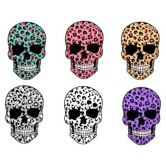 Set di teschi cranio di leopardo halloween illustrazione vettoriale isolato su sfondo bianco