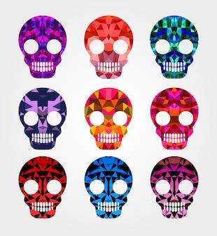 Set di teschi con sfondi diversi e diverse sfumature e colori per il design e l'ispirazione. teschio di halloween