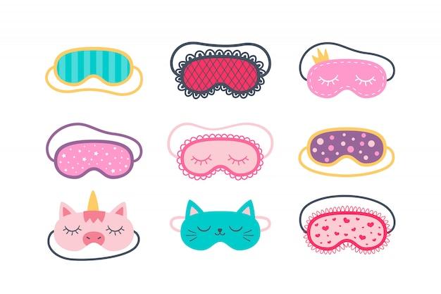 Set di maschere per dormire per gli occhi. accessorio notturno per dormire, viaggiare e divertirsi. illustrazioni isolate su sfondo bianco