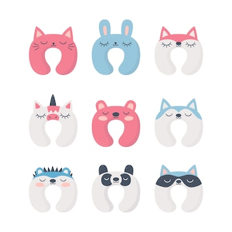 Set di cuscini per il collo del sonno con simpatici animali. accessorio notturno per dormire, viaggiare e divertirsi. illustrazioni isolate su sfondo bianco