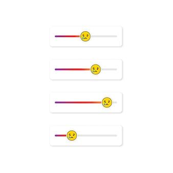 Set di emoji slider per i social network. faccina che piange, emoticon. progettazione dei social media del pulsante dell'interfaccia utente dello schermo delle storie. vettore su sfondo bianco isolato. eps 10