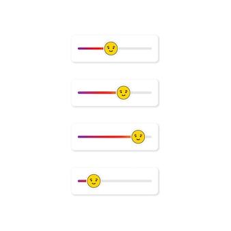 Set di emoji slider per i social network. faccia gentile, emoticon. pulsante dell'interfaccia utente della schermata storie