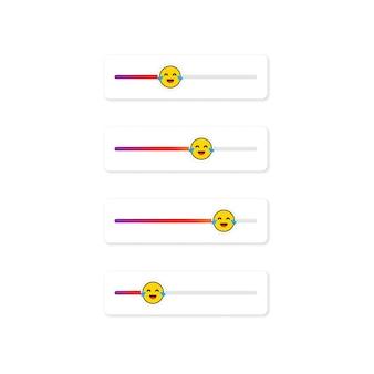 Set di emoji slider per i social network. faccina che ride, emoticon. progettazione dei social media del pulsante dell'interfaccia utente dello schermo delle storie. vettore su sfondo bianco isolato. env 10.