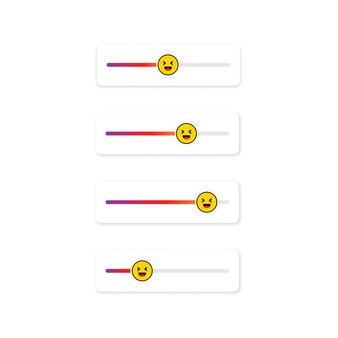 Set di emoji slider per i social network. faccina che ride, emoticon. progettazione dei social media del pulsante dell'interfaccia utente dello schermo delle storie. vettore su sfondo bianco isolato. eps 10