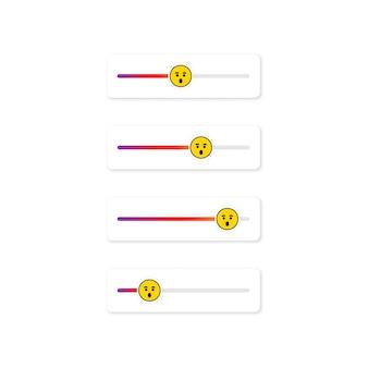 Set di emoji slider per i social network. volto sorpreso, emoticon. progettazione dei social media del pulsante dell'interfaccia utente dello schermo delle storie. vettore su sfondo bianco isolato. eps 10