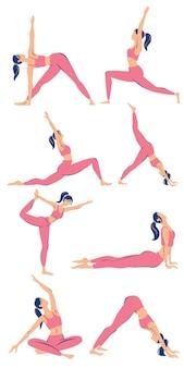 Set di giovane donna sportiva esile che fa yoga illustrazione piatta alla moda set di pose di yoga
