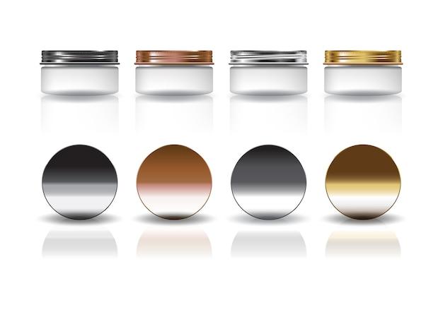 Set di barattolo rotondo piccolo cosmetico bianco con modello di coperchio nero-rame-argento-oro. isolato su sfondo bianco con ombra di riflessione. pronto per l'uso per il design della confezione. illustrazione.