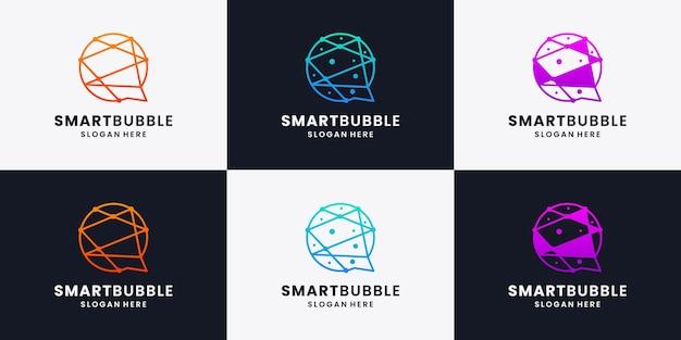 Set di idee per il design del logo a bolle intelligenti, tecnologia intelligente, collezioni di design del logo con tecnologia a bolle