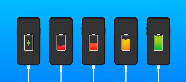Set di smartphone con indicatori del livello di carica della batteria e con connessione usb. smartphone con batteria scarica e completamente carico. illustrazione.