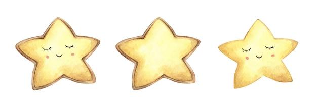 Set di biscotti viso sorriso a forma di stella. illustrazione dell'acquerello.