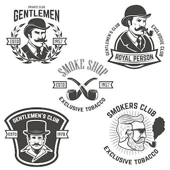 Set di club per fumatori, etichette club per signori. elementi per, emblema, segno, marchio. illustrazione.