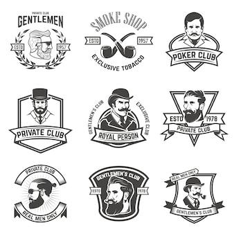Set di club per fumatori, etichette club per signori. elementi per logo, emblema, segno, marchio. illustrazione.