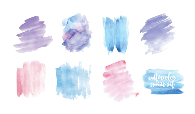Insieme di macchie o sbavature dipinte a mano con acquerello isolato su priorità bassa bianca. collezione di tracce pittoriche espressive di colori pastello, fondali acquarellati. illustrazione colorata.
